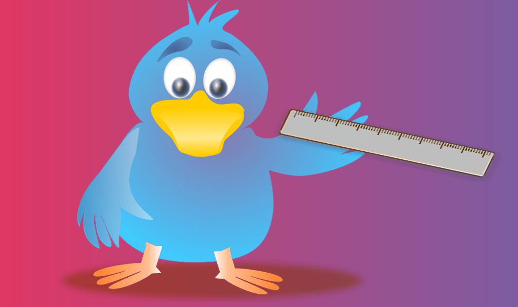oiseau Twitter avec un rêgle