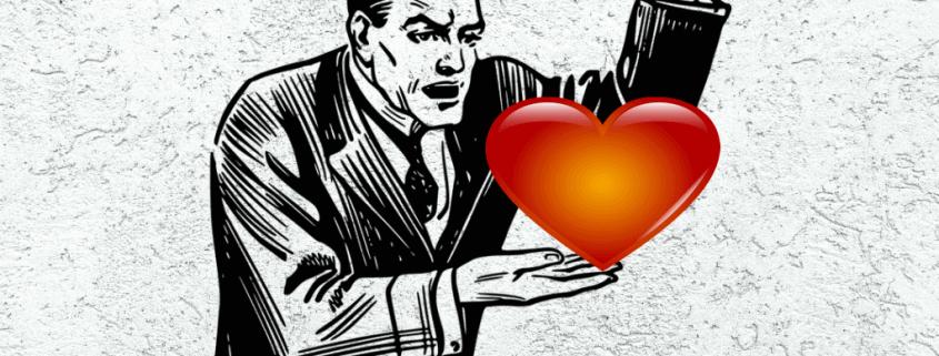homme agressif face à un coeur