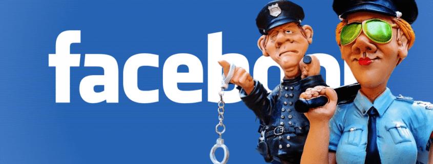 policiers devant le logo Facebook