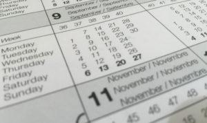 calendrier ouvert sur novembre